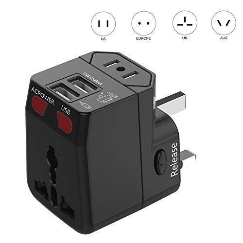 Gn Gn 2100 Usb - International Power Adapter Plug (2 USB Ports 2100MA) - US Europe France UK Ireland Thailand China NZ Australia 150+ Countries -Wonplug Universal World Travel Adapter Built in Safety Fuse