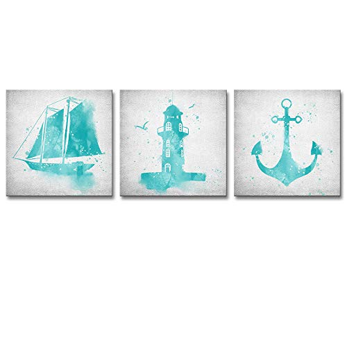 Lighthouse Sailboat - LoveHouse 3 Piece Wall Art for Boy Bedroom Blue Nautical Decorative Sailboat Lighthouse Anchor Watercolor Painting Picture Modern Home Decor Stretched and Framed Ready to Hang 12