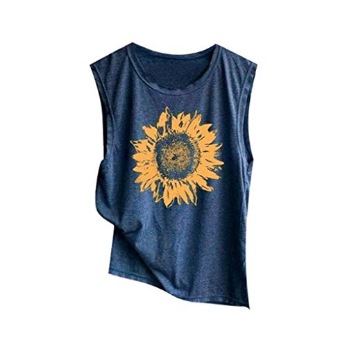 (Conina Summer Women Sunflower Print Sleeveless V-Neck Loose T-Shirt Blouse Comfortable Tank Tops Shirt (Navy, L))