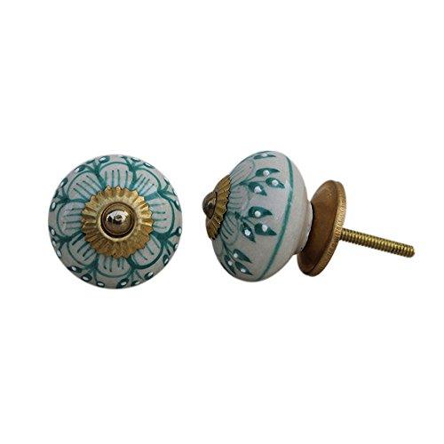 IndianShelf Handmade 4 Piece Ceramic Green Zinnia Flower Artistic Rust Free Knob Pulls Vintage Handles for Cabinets ()