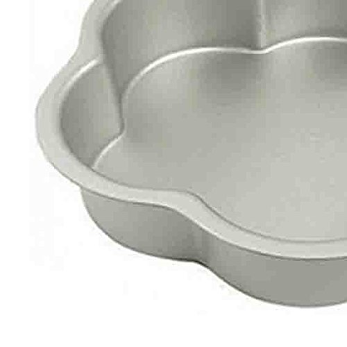 Whopper India Aluminum Flower Shape Cake Mould, Cake Maker Nonstick Bakeware Cake, Cheesecakes, Silver Color Size 6 X 6 Inch