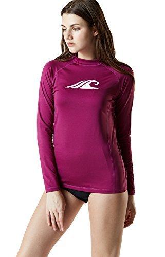 TSLA TM-FSR24-PLM_Medium Women's UPF 50+ Regular-Fit Long Sleeve Athletic Rashguard FSR24 ()