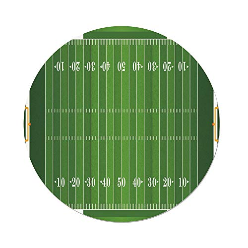 (Polyester Round Tablecloth,Football,Sports Field in Green Gridiron Yard Competitive Games College Teamwork Superbowl,Green White,Dining Room Kitchen Picnic Table Cloth Cover,for Outdoor Indoor)