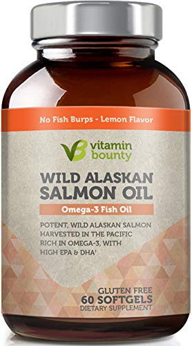 Vitamin Bounty Omega 3 Fish Oil - Sourced from Wild Alaskan Salmon - High in EPA, DHA, Omega 3, 6 and 9 -