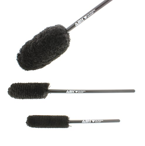 ABN Car Wash Cleaning 4 Piece Kit  3 Tire Rim Wheel Woolies Brush Set PLUS 1 Chenille Microfiber Washing Mitt
