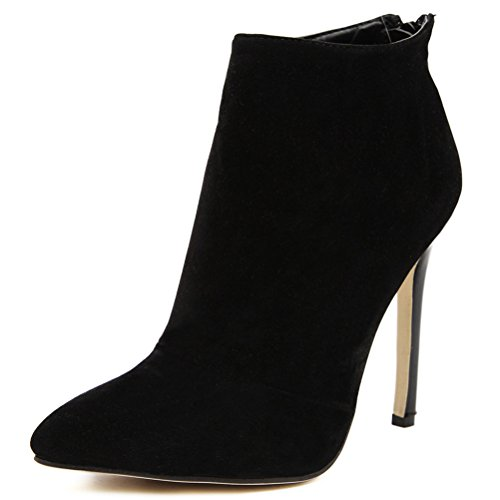 - MMJULY Women's Pointed Toe Zip Up Stiletto High Heels Dress Ankle Booties Black Suede US 10