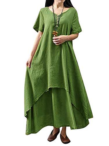 - Romacci Women Boho Dress Casual Irregular Maxi Dresses Layer Vintage Loose Long Sleeve Linen Dress with Pockets,S-5XL (Army Green-Short Sleeve, 4XL)