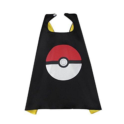 [OscarNOtis Pokemon Go Pikachu Dress Up Costume Cape and Mask Set (Pokeball Black)] (May Costume Pokemon)