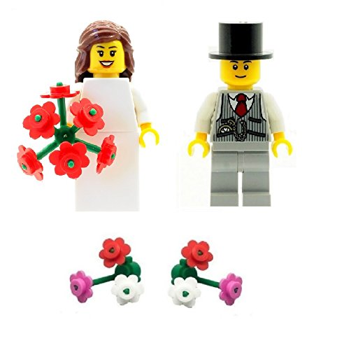 LEGO Bride with Bouquet and Groom (with waistcoat) Minifigures with Extra...