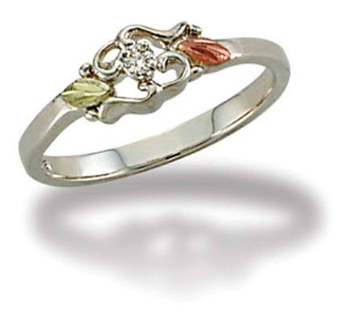 - Landstroms Black Hills Silver Ladies Diamond Ring with 12k Gold Leaves - MRLLR3025X
