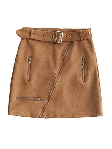 ZAFUL Junior High Waist Faux Suede Front Zip Belted A-line Mini Short Skirt(Cinnamon,L) ()