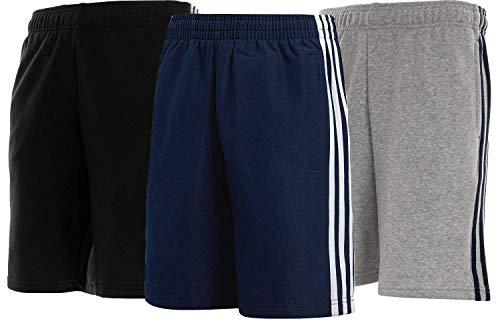 Crazy Prints Cotton Fleece 3 Stripes Shorts for Men Pack of 3