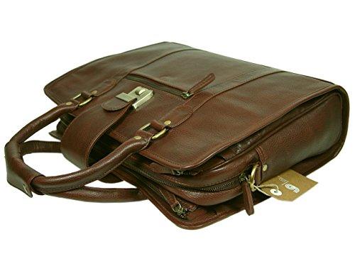 LeftOver Studio Genuine Leather Unisex Laptop Bag Organizer Briefcase Messenger Bag with Combination Lock by Leftover Studio (Image #2)