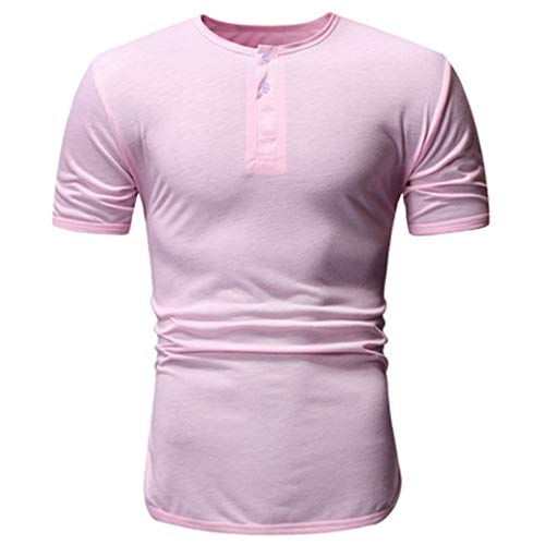 (Mens T Shirts Crewneck Short Sleeve Top Button Pure Color Tees Casual Plus Size Blouse (XXL, Pink))