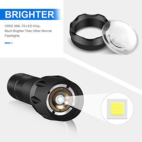 Lampe Torche LED Ultra Puissante, Ledeak Cree XM-T6 1000 Lumens Lampe de poche Militaire Tactique, Zoomable Etanche 5… 3