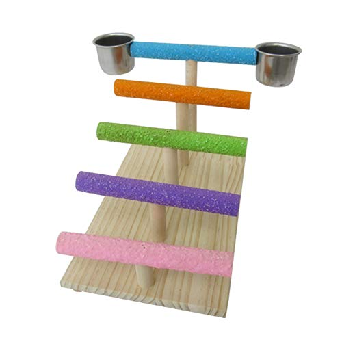 (QBLEEV Birds Tabletop Play Stand Climb Ladder Playground,Parrots Exercise Grinding Playgym Playpen with 2 Food Dishes,Colorful Standing Bar for Small Parrots Parakeet Cockatiel Lovebird Conures Finch)