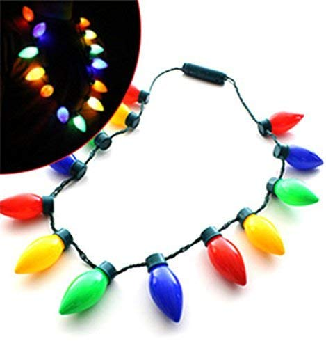 Flashing Christmas holiday Light Bulb Necklace 13 individual bulbs - 4 colors (red, green, blue, and yellow) 3 light settings - One size fits all -