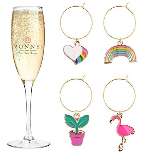 P429 Brand New Rainbow Love Flower Ostrich Bird Wine Charms Glass Marker for Party with Velvet Bag- Set of - Charm Ostrich Bird