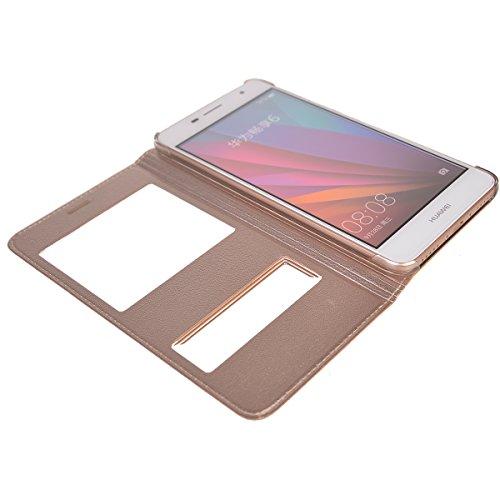 Huawei Enjoy 6 Funda,COOLKE Diseño de ventana Flip Funda Con Soporte Plegable Carcasa Funda Tapa Case Cover para Huawei Enjoy 6 - Oro Oro