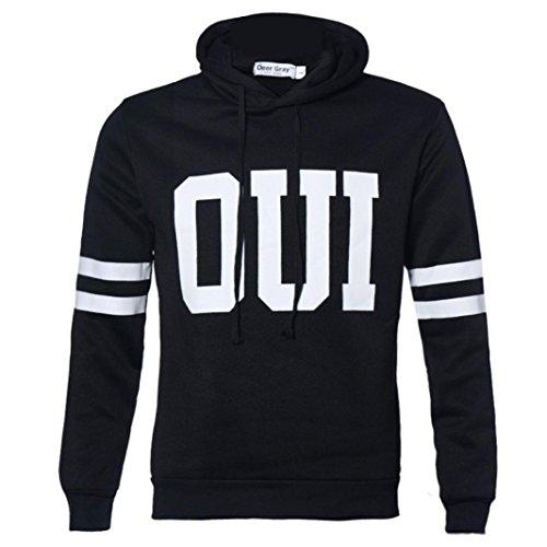 [XUANOU Man Letter Printed Hooded Sweatshirt Pullover Jacket (Medium, Black)] (Red Coat Army Costume)