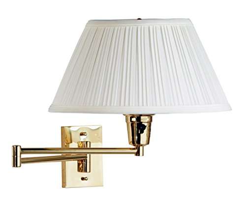 Kenroy 30100PBES-1 Element Swing Arm Wall Lamp, Polished Solid Brass Finish with Eggshell/White Fabric Shade
