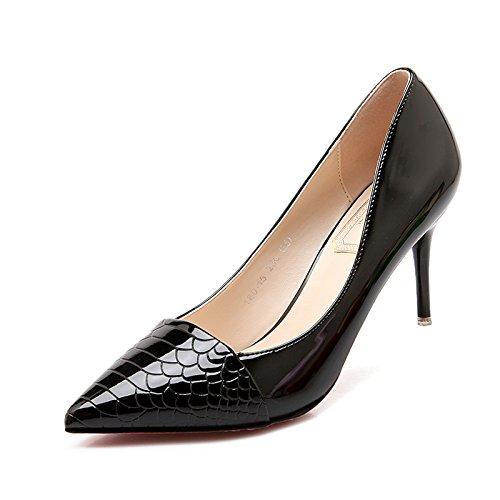 Xue Qiqi high-heel Schuhe fein mit Spitze und vielseitige Arbeit Arbeit Arbeit mode Damenschuhe elegante Bare-metal-Farbe light-Schuh 38 Schwarz 7 cm 19f204