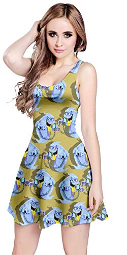 - CowCow Womens Fashion Olive Funny Chained Ghost Pattern Sleeveless Dress - XL