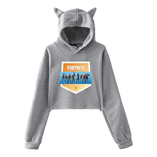 Popolare Top Breve Aivosen con Fortnite Cute Casual Sweatshirts sportive cappuccio Grey3 Allentato Donne Stampate Felpe 1pq7gFw