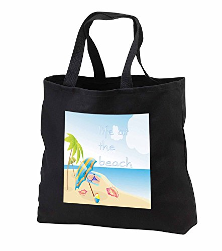 Florene Beach And Sunset Art - Image of Life At The Beach With Shells Palm And Bikini - Tote Bags - Black Tote Bag 14w x 14h x 3d (tb_237046_1)