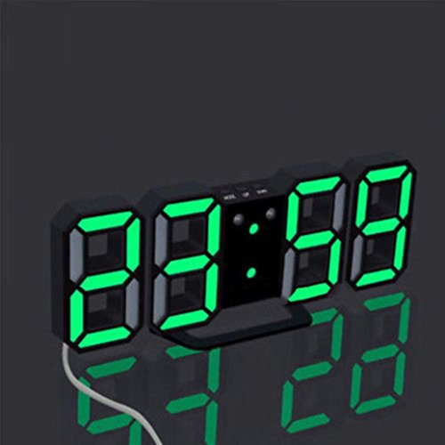 Yeefant 3 Color Digital LED Table Night Snooze Function Wall Clock Alarm Watch 24 Or 12 Hour Display for Living Room Bedroom Giant Led Clock