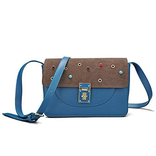 Hit DHFUD à Bandoulière Sac PU à Main Couleur Blue Womens Fashion Bandoulière Sac wYxzrFpqY