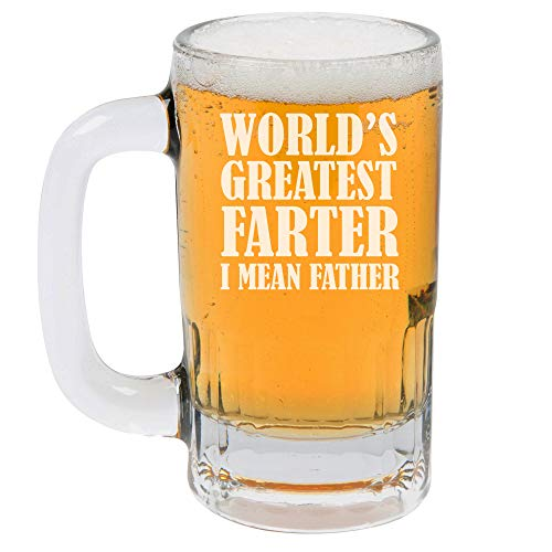 12oz Beer Mug Stein Glass World's Greatest Farter Father Funny Dad Gift