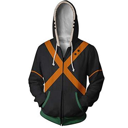 Boku No Hero Academia My Hero Academia Izuku Midoriya Hoodies Sweatshirt Costume Training Jacket Unisex (Black, X-Large)