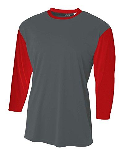 (Graphite/Red Youth Medium 3/4 Sleeve Baseball/Softball Raglan Utility Shirt)