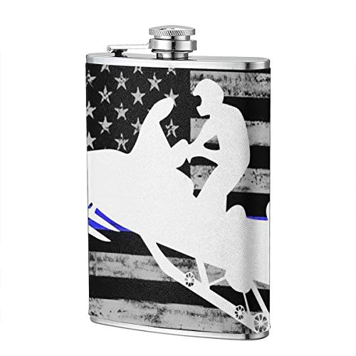 HDMEI American Flag Platinum Snowmobile Hip Flask Stainless Steel Flagon 8 Oz Wine Pot for Liquor, Alcohol, Whiskey, Rum and Vodka,Gift - Platinum Rum