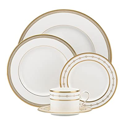 Lenox 844724 Sharon Sacks Jeweled Jardin 5-Piece Place Set, White - Crafted of Lenox bone china accented with platinum Dishwasher safe Under license by Brian Gluckstein, who has reviewed this product for quality and authenticity - kitchen-tabletop, kitchen-dining-room, dinnerware-sets - 41aGaysezFL. SS400  -