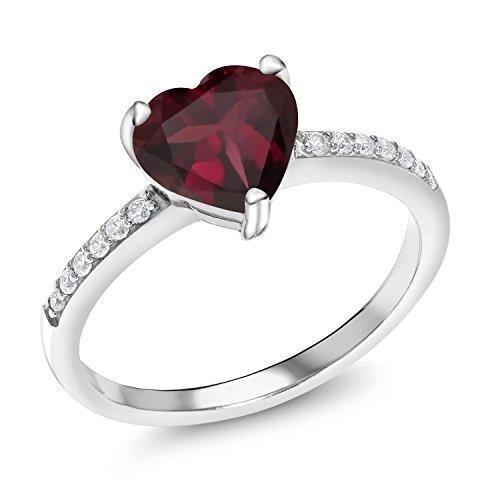 Gem Stone King 2.14 Ct Heart Shape Red Rhodolite Garnet 925 Sterling Silver Ring (Size 7)