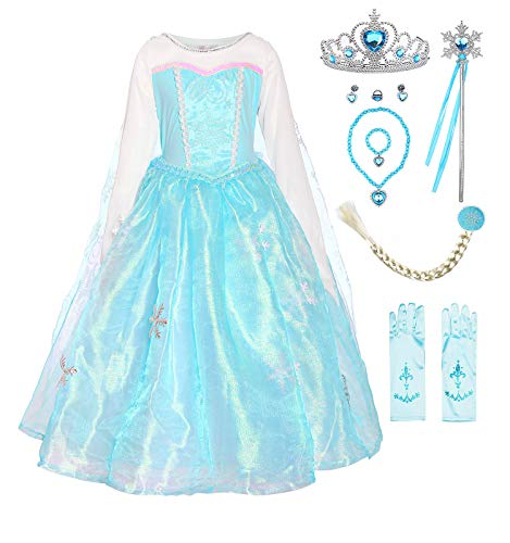 ReliBeauty Girls Princess Elsa Costume Organdie Snowflake Dress up