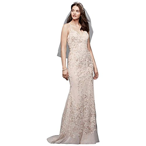 David's Bridal Embroidered and Beaded Lace Sheath Wedding Dress Style MS251185, Petal, 6