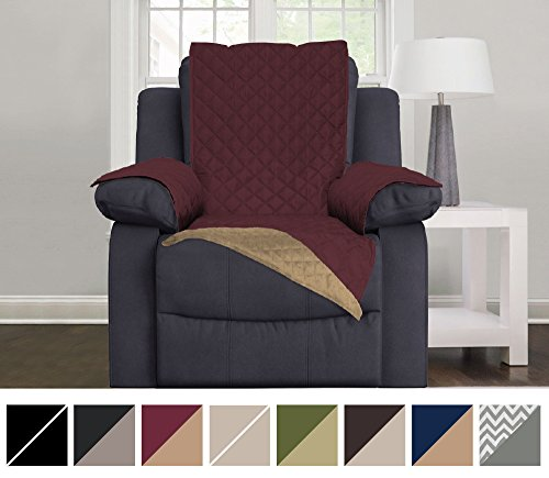 "Sofa Shield Original Reversible Couch Slipcover Furniture Protector, Seat Width Up to 30"", 2 Inch Strap, Machine Wash, Slip Cover Throw for Pets, Dogs, Kids (Recliner Oversized: Burgundy/Tan)"