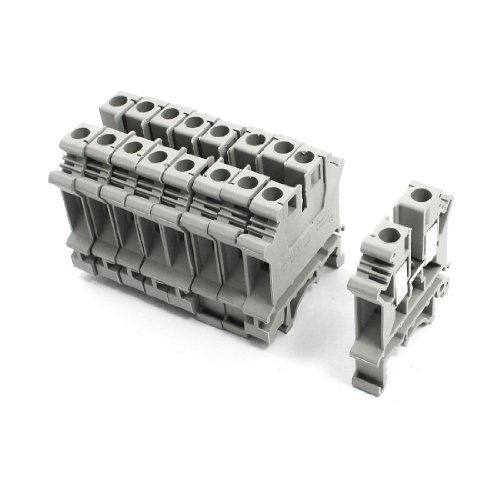 - uxcell 10Pcs Gray Plastic UK6N Screw Clipping Contact Terminal Block 800V 57A