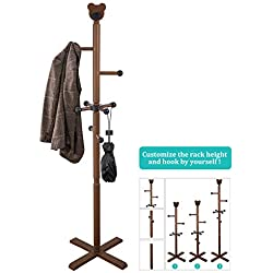 Vlush Sturdy Coat Rack Stand- 8 Hooks Standing Entryway Hall Tree Coat Tree Coat Hanger Coat Hooks with Round Base for Jacket,Clothes,Purse,Scarves,Handbags,Umbrella-(11 Hooks,Brown)