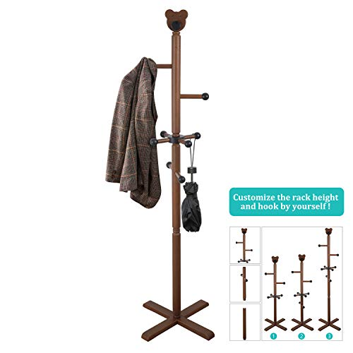 Wooden Coat Rack, Hall Tree Entryway Coat Tree Stand Coat Hanger Clothes Tree for Jacket,Hat,Clothes,Purse,Scarves,Handbags,Umbrella-(8 Hooks,Brown)