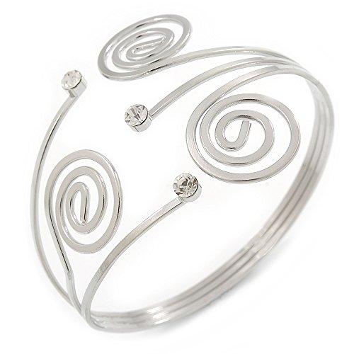 Avalaya Swirl, Diamante Upper Arm, Armlet Bracelet In Silver Tone - 27cm L - Adjustable