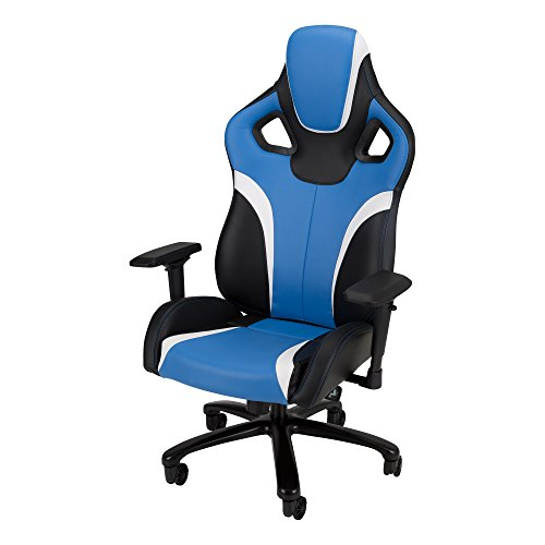 Galaxy XL - Racing-Style Gaming Chair by SkyLab Performance Seating F.C., Blue/Black/White School Outfitters