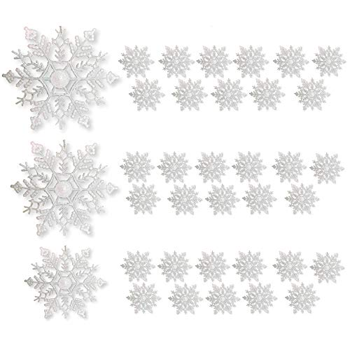 (BANBERRY DESIGNS White Snowflake Christmas Ornaments - Pack of 36 White Glittered Snowflake Ornaments - Assorted Sizes - Iridescent White Christmas Snow Flakes)