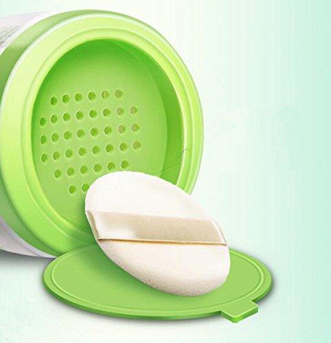 7c57cb05ea18 Green Plastic Empty Portable Baby Skin Care After-Bath Powder Puff ...