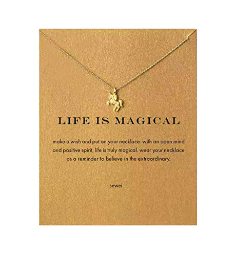 SEWEI Unicorn Necklace with Message Card(Golden Unicorn) -