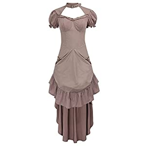 Women Vintage Gothic Costume Victorian Hollowed Out High-Low Dress