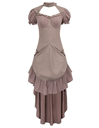 Belle Poque Women Vintage Gothic Costume Victorian Hollowed Out High-Low Dress